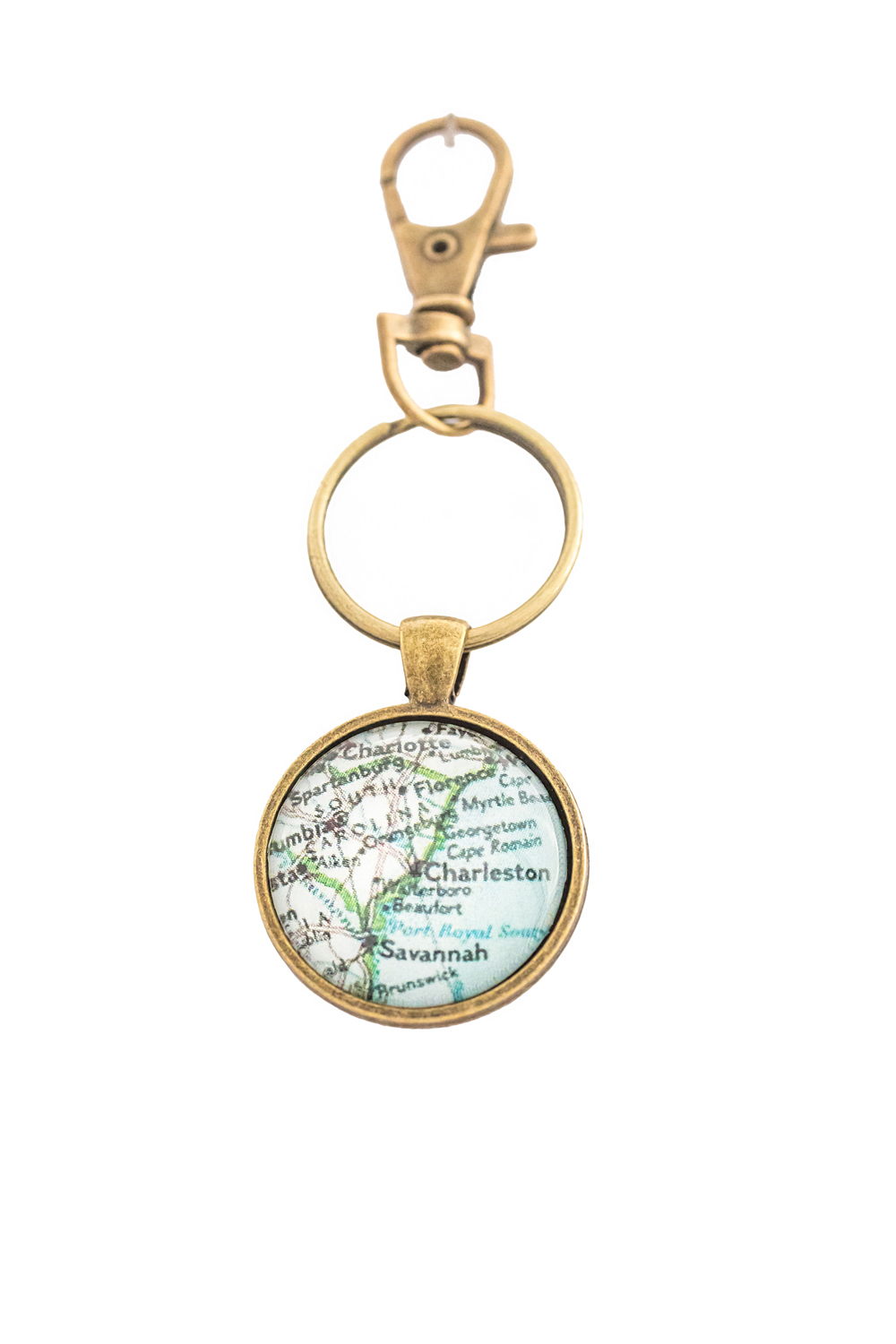 custom key ring bronze charleston map jewelry